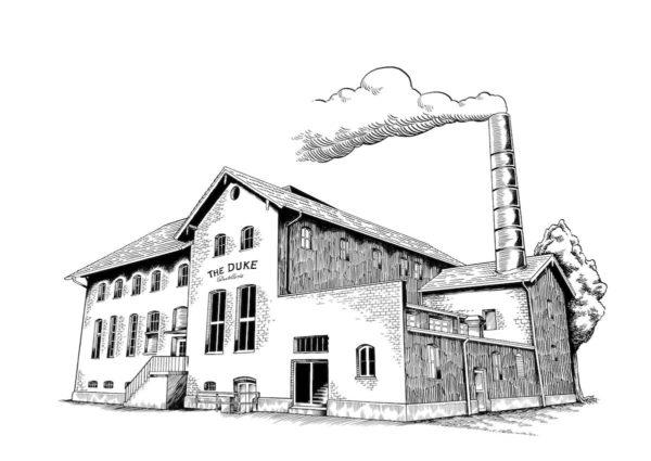 Zeichnung THE DUKE Destillerie Gebäude