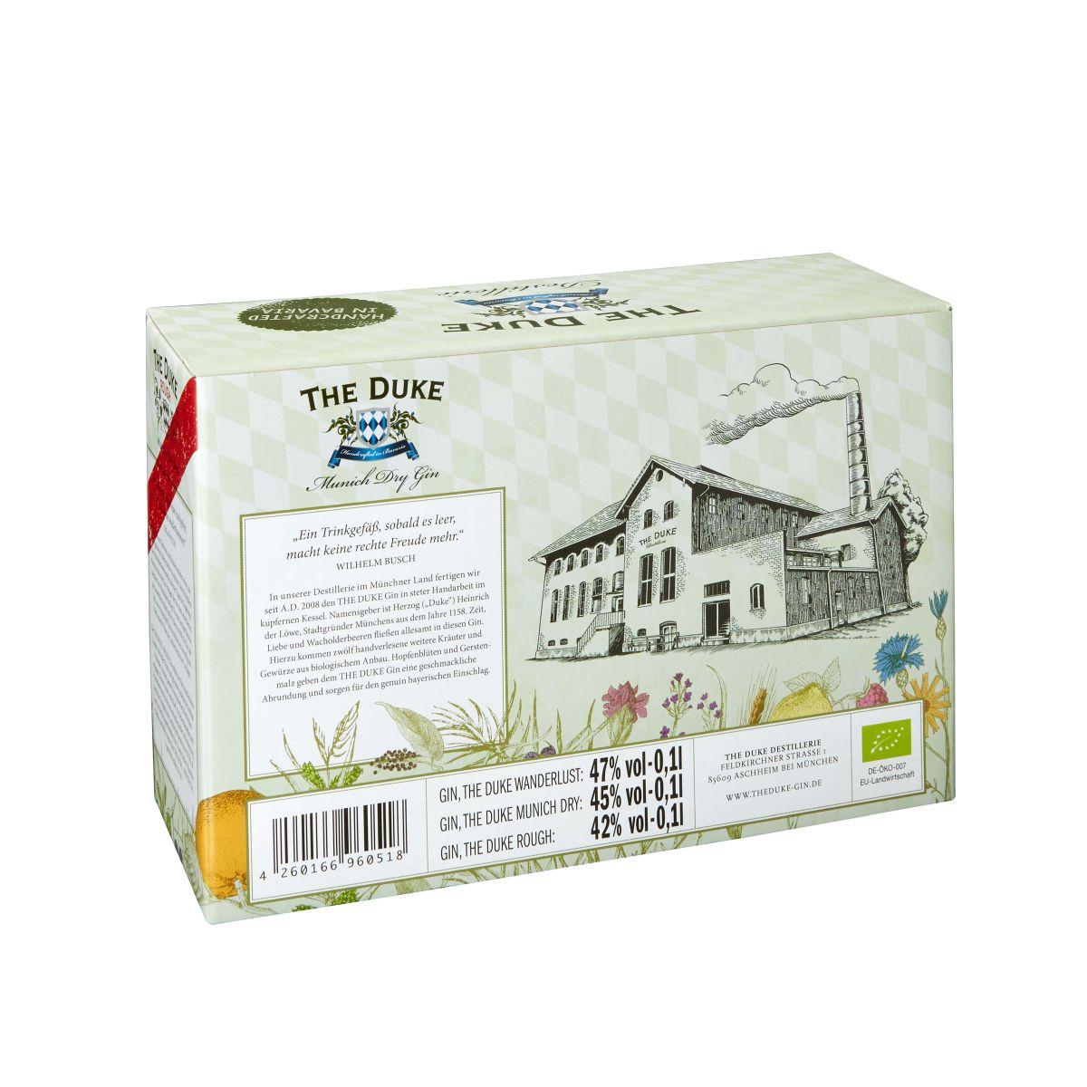 THE DUKE Gin Miniaturenset Geschenkbox hinten