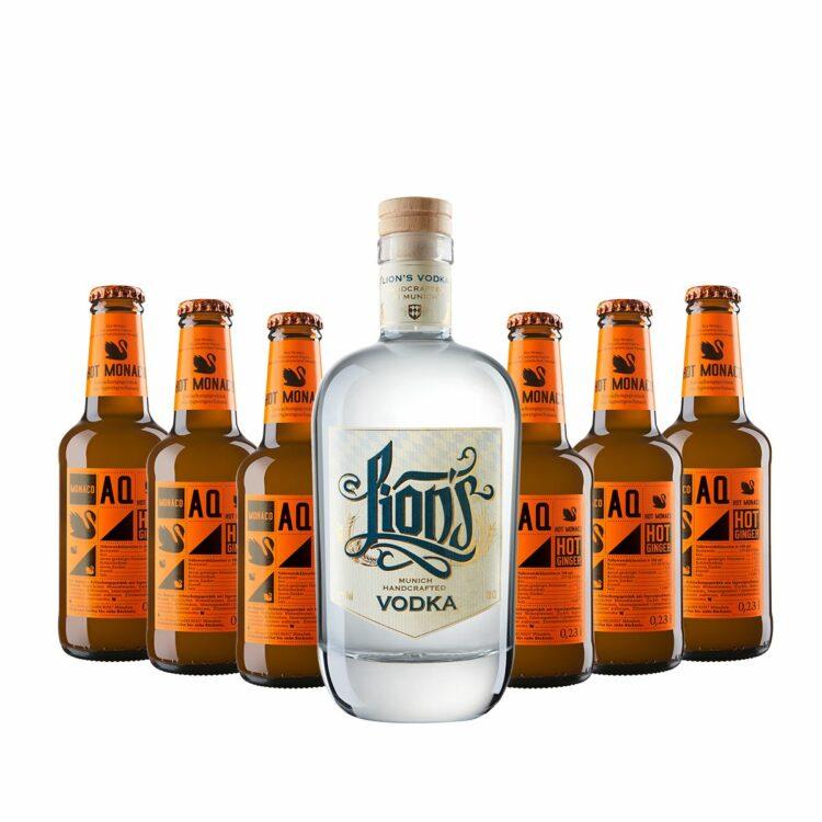 Moskow Mule Set bestehend aus LION's Vodka und Hot Ginger Beer von Aqua Monaco