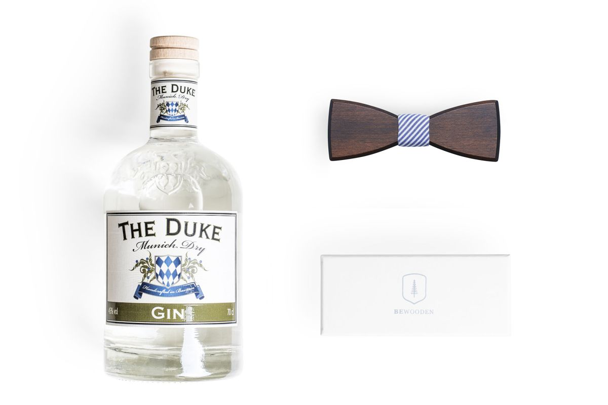 BeWooden x THE DUKE Gentlemen's Bundle: THE DUKE Munich Dry Gin und Holzfliege