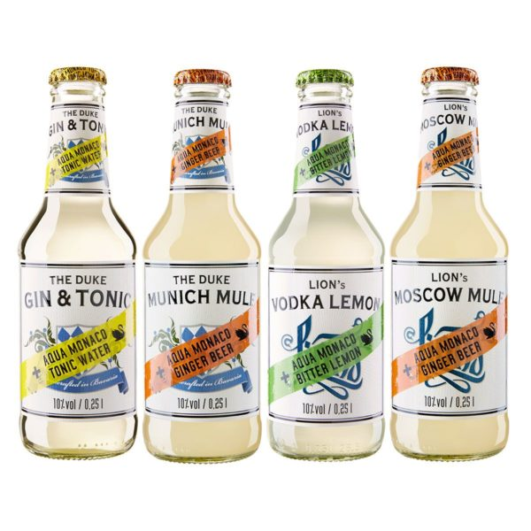 THE DUKE Gin und LION's Vodka Longdrink Set mit Fillern von Aqua Monaco: THE DUKE Munich Mule, THE DUKE Gin & Tonic, LION's Moskow Mule, LION's Vodka Lemon