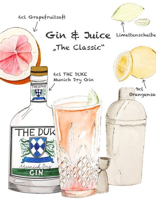 Drink Rezept: Gin & Juice mit THE DUKE Gin und Grapefruit und Orangen Saft