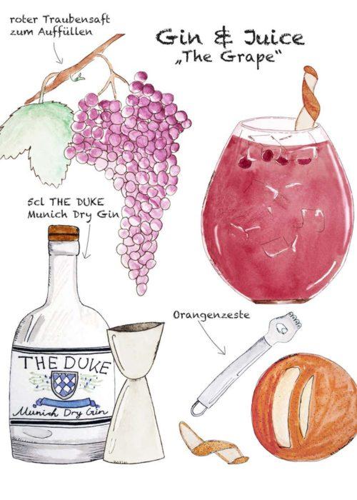 Drink Rezept: Gin & Juice mit THE DUKE Gin und Traubensaft