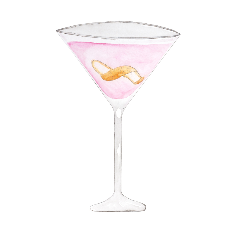 LION's Classics: Cosmopolitan mit LION's Munich Handcrafted Vodka, Illustration von Paula Vogel