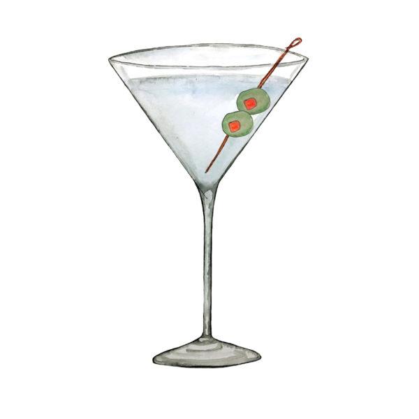 LION's Vodka Martini - Rezept zum Nachmixen, Illustration von Paula Vogel