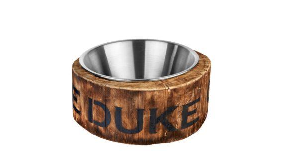 Icebucket aus Holz und Edelstahl mit THE DUKE Destillerie Logo