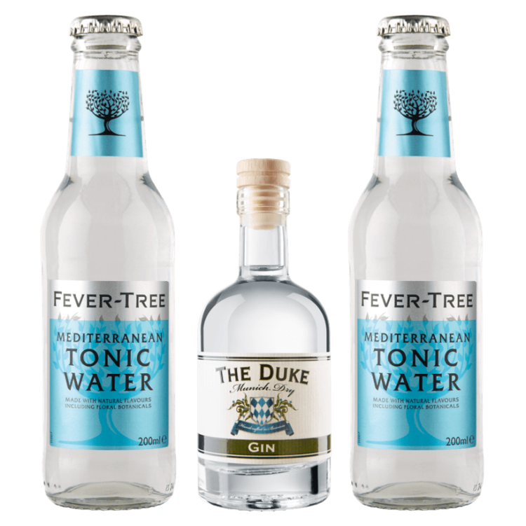 Mini Gin & Tonic Set mit THE DUKE Munich Dry Gin und Fever-Tree Mediterranean Tonic