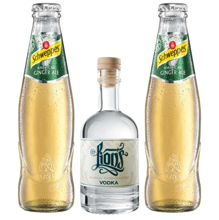 Mini Vodka Ginger Ale Set mit LION's Vodka und Schweppes Ginger Ale