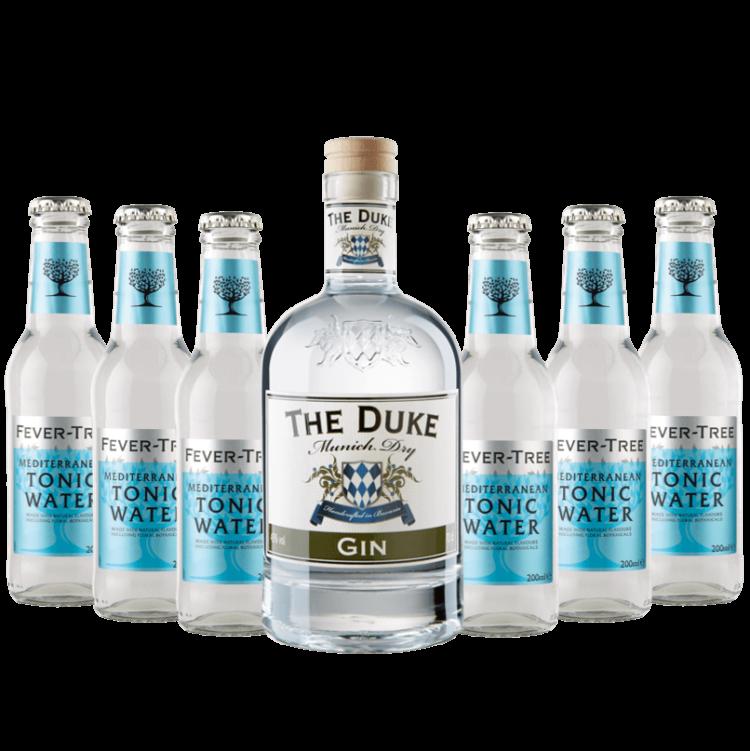 Gin & Tonic Set mit THE DUKE Gin und 6 Flaschen Fever-Tree Mediterranean Tonic