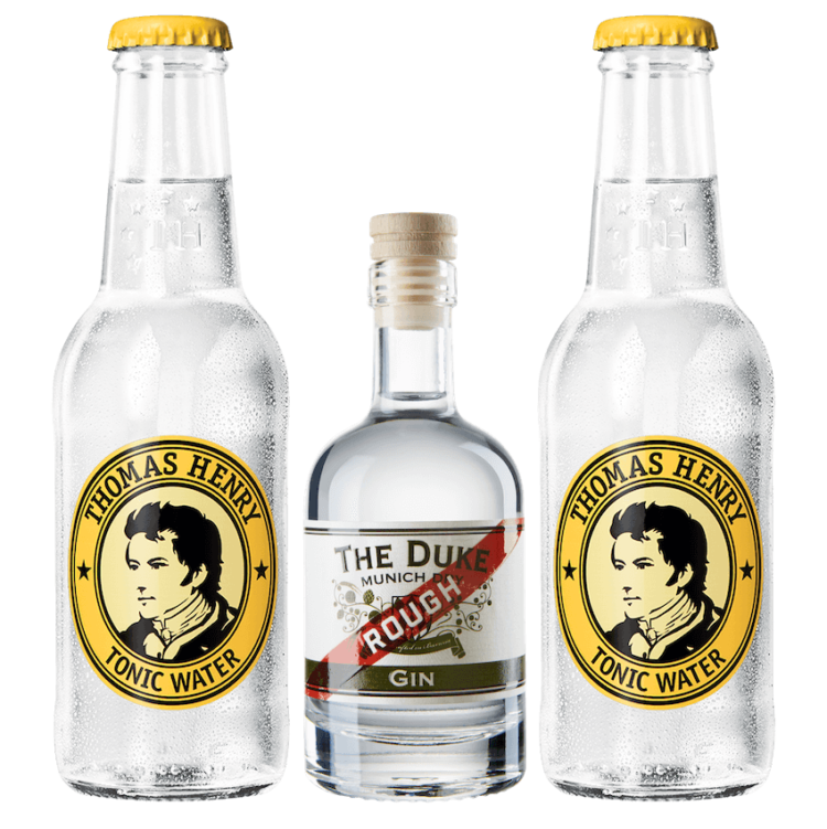 Mini Gin & Tonic Set mit THE DUKE Rough Gin und Thomas Henry Tonic Water