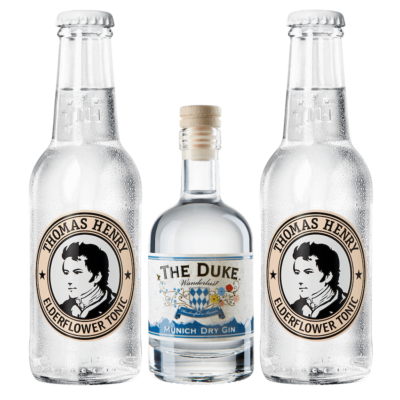 Mini Gin & Tonic Set mit THE DUKE Wanderlust Gin und Thomas Henry Elderflower Tonic