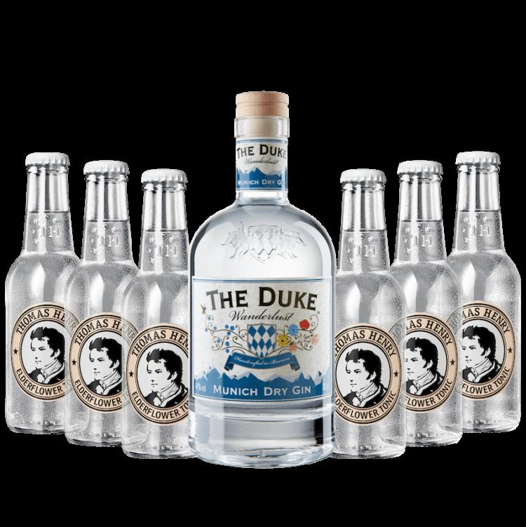 Gin & Tonic Set mit THE DUKE Wanderlust Gin und Thomas Henry Elderflower Tonic