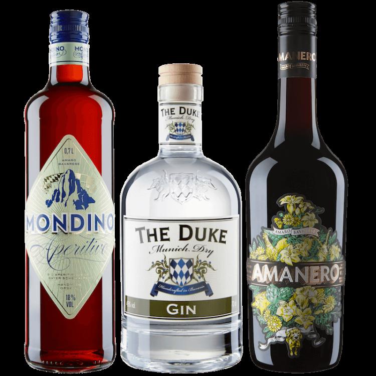 Bundle mit THE DUKE Munich Dry Gin, Mondino Amaro Bavarese und Amanero