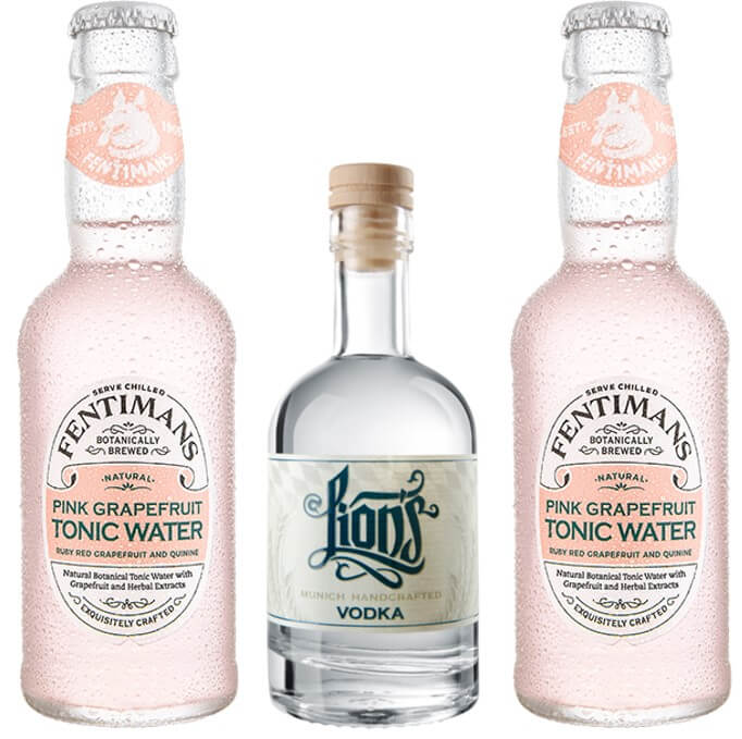 Mini Vodka Tonic Set mit LION's Vodka und Fentimans Pink Grapefruit Tonic Water