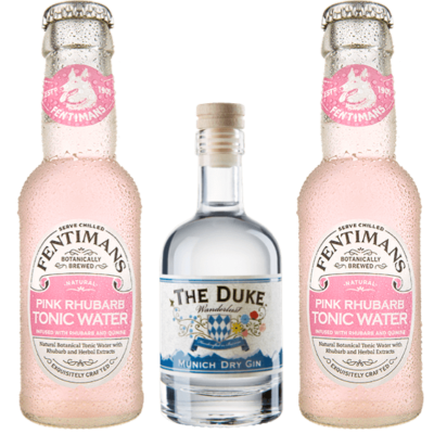 Mini Gin & Tonic Set mit THE DUKE Wanderlust Gin & 6 Flaschen Fentimans Pink Rhubarb Tonic Water