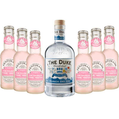Gin & Tonic Set mit THE DUKE Wanderlust Gin & 6 Flaschen Fentimans Pink Rhubarb Tonic Water