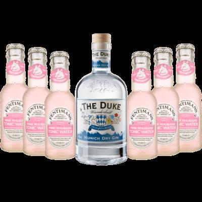 Gin & Tonic Set mit THE DUKE Wanderlust Gin & 6 Flaschen Fentimans Pink Rhubarb Tonic Water