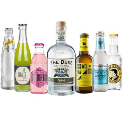 Gin & Tonic Set mit THE DUKE Munich Dry Gin und 6 verschiedene Tonic Water