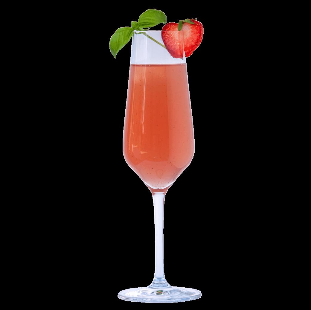 Gin Erdbeer Spritz mit THE DUKE Rough Gin, Prosecco und Basilikum