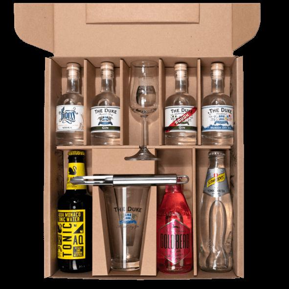 Geschenk Box Gin Tasting Set THE DUKE mit 3 Gins und Tonic Water