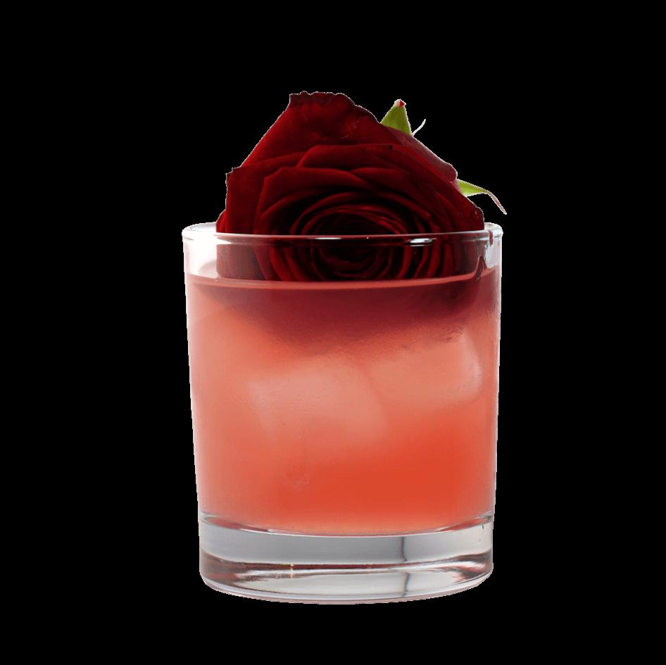 Cocktail mit LION's Vodka und einer roten Rose