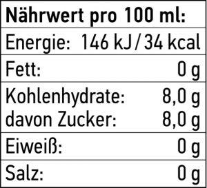 Nährwert Tabelle für THE DUKE Tonic Water