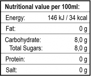 Nurtitional Value Table for THE DUKE Tonic Water