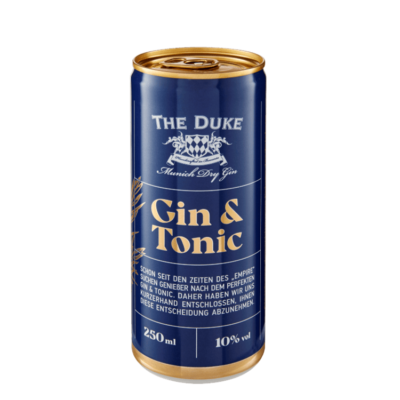 Gin Tonic ready to drink in der Dose mit THE DUKE Munich Dry Gin und Tonic Water