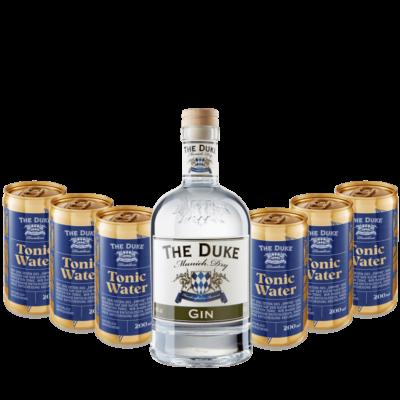1 Flasche THE DUKE Munich Dry Gin und 6 Dosen THE DUKE Tonic Water
